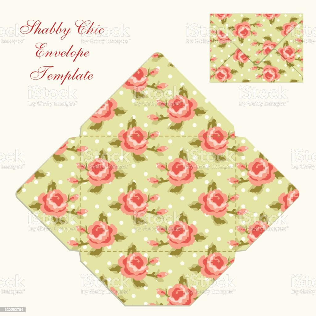 Cute Retro Envelope Template With Ornament In Shabby Chic Style ...