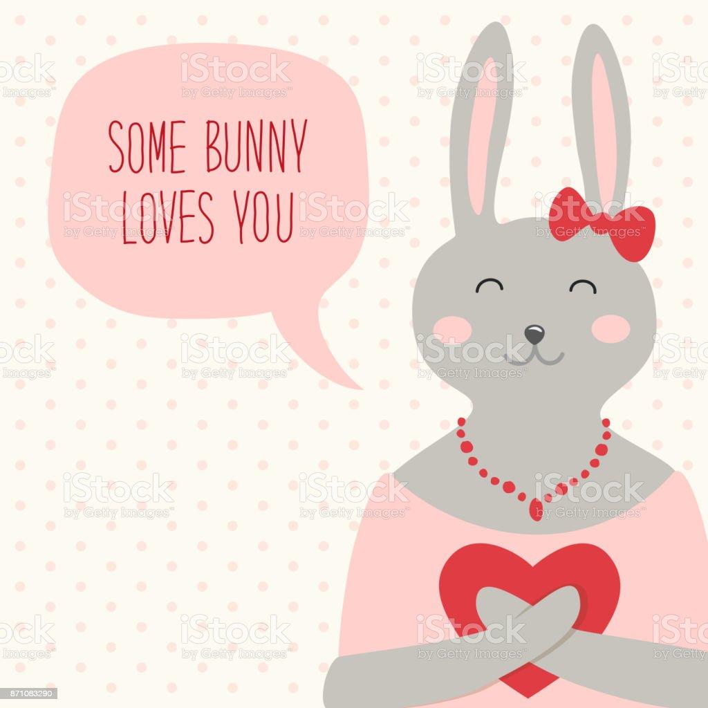 Niedliche Retro Hand Gezeichnete Karte Zum Valentinstag Als Lustige