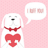 Cute retro hand drawn Valentine's Day card as funny Dog with Heart and speech bubble with quote I Ruff You