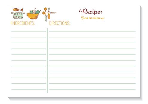 Cute Retro Kitchen Recipe Card Template
