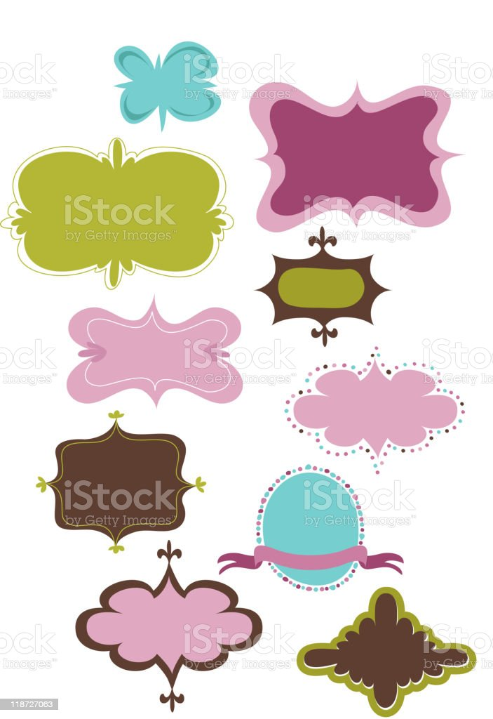 Cute Retro Labels And Frames Stock Vector Art More Images Of Brown