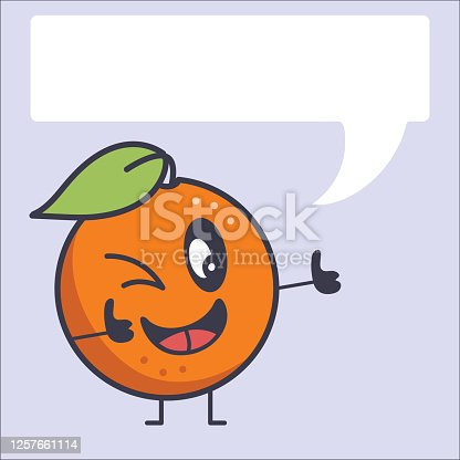 A cute retro orange character with a light background.