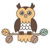 Cute Retro Owl on Branch Vector Illustration