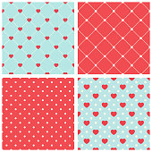 Cute retro set of seamless backgrounds with hearts for your decoration