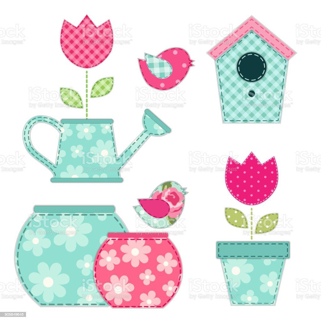 Apliques De Tela Maceta Y Flores