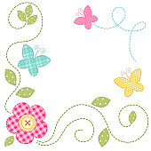 Cute retro spring card as patch fabric applique of flowers and butterflies for your decoration