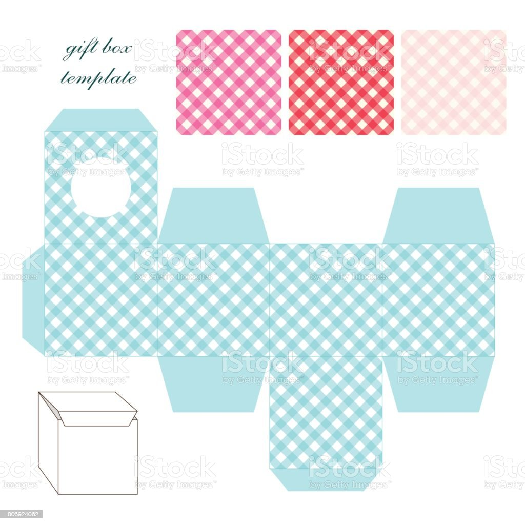 cute retro square gift box template with gingham ornament to print