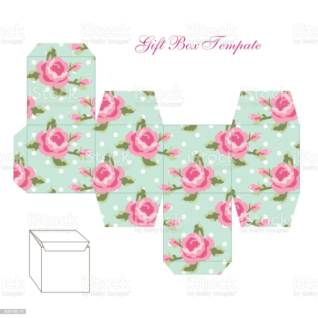 Cute Retro Square Gift Box Template With Shabby Chic Ornament To Print Cut And Fold