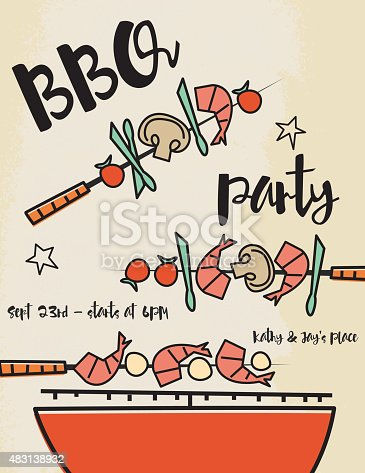 Cute retro Vintage Style BBQ Invitation Template. 1960s style drawings of a grill and shish-kabobs with space for text. On a grunge paper background.