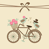 Cute retro wedding or birthday card, invitation with bicycle, birds