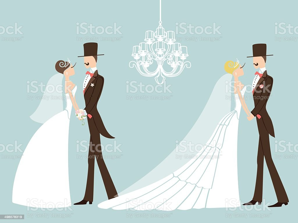 Cute Retro Wedding Set Cartoon Couple Bride And Groomeps Stock ...