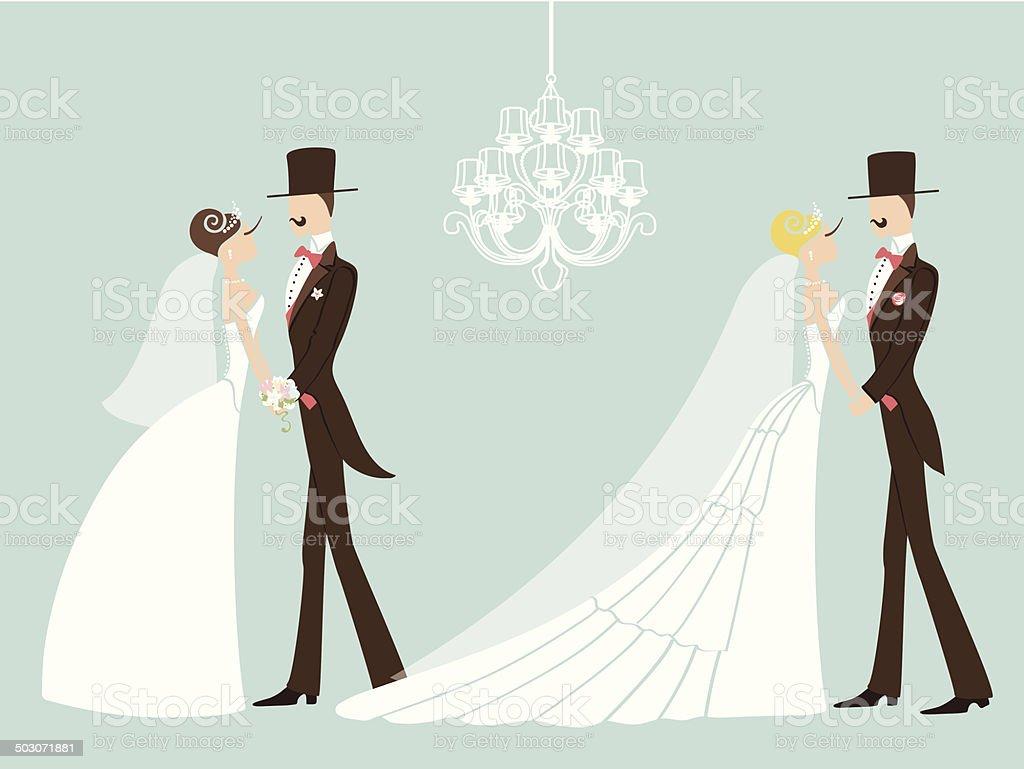 かわいいレトロなウェディング設定されます カットイラストカップル花嫁