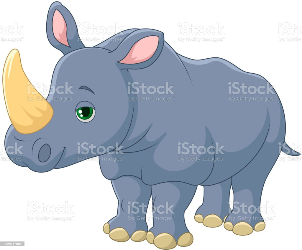 royalty free happy rhino cartoon posing clip art vector images rh istockphoto com rhino clipart png rhino clipart black and white