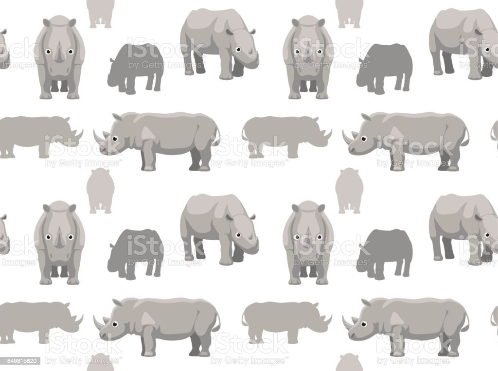 Cute Rhinoceros Cartoon Seamless Wallpaper vector art illustration