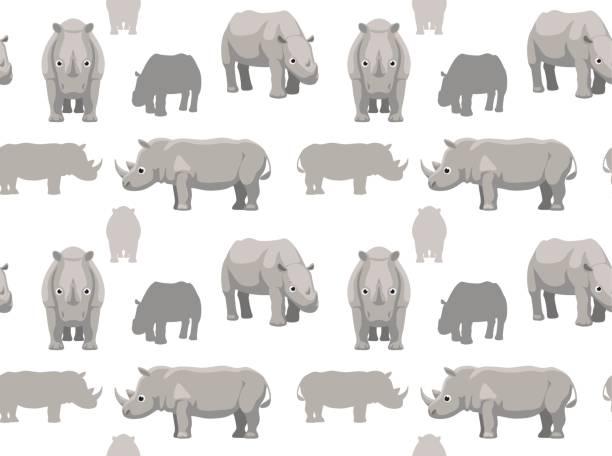 Cute Rhinoceros Cartoon Seamless Wallpaper Animal Wallpaper EPS10 File Format white rhinoceros stock illustrations