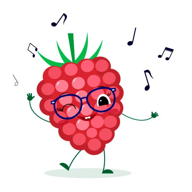 niedlich reife aprikosen-karikaturenfigur in gläsern tanzt zur musik. logo, vorlage, design. vector illustration, ein flacher stil - glasohrringe stock-grafiken, -clipart, -cartoons und -symbole