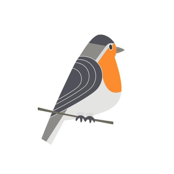 niedliche robin-symbol - einzelnes tier stock-grafiken, -clipart, -cartoons und -symbole