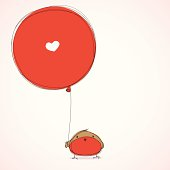 Cute robin with heart balloon... Great for Valentines day or just because...!