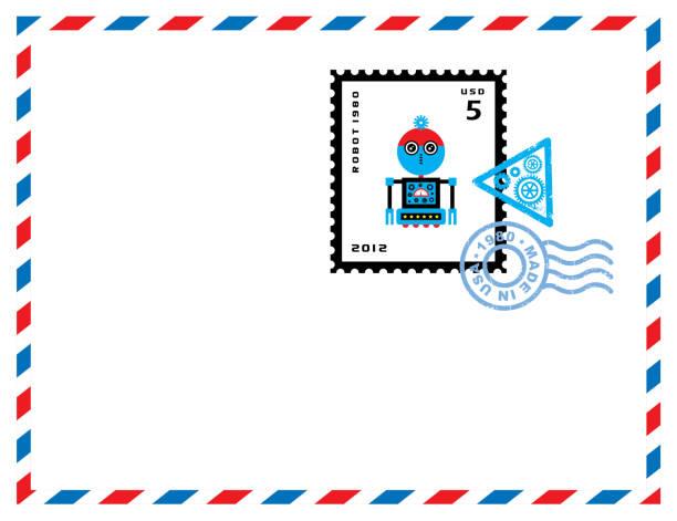 niedliche Roboter Cartoon Stempel Buchstaben Vektor – Vektorgrafik