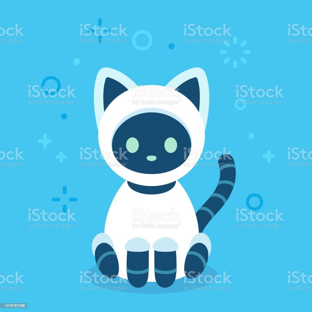Cute Robot Cat Stock Illustration - Download Image Now - iStock