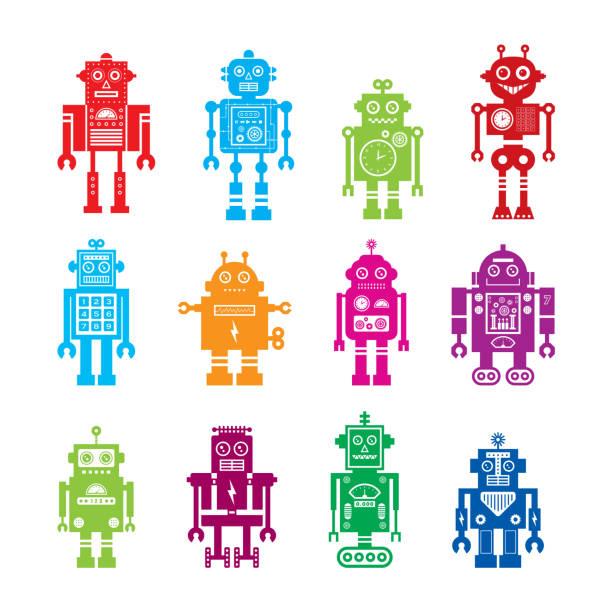 niedliche Roboter Charakter Vektor Sammlung – Vektorgrafik