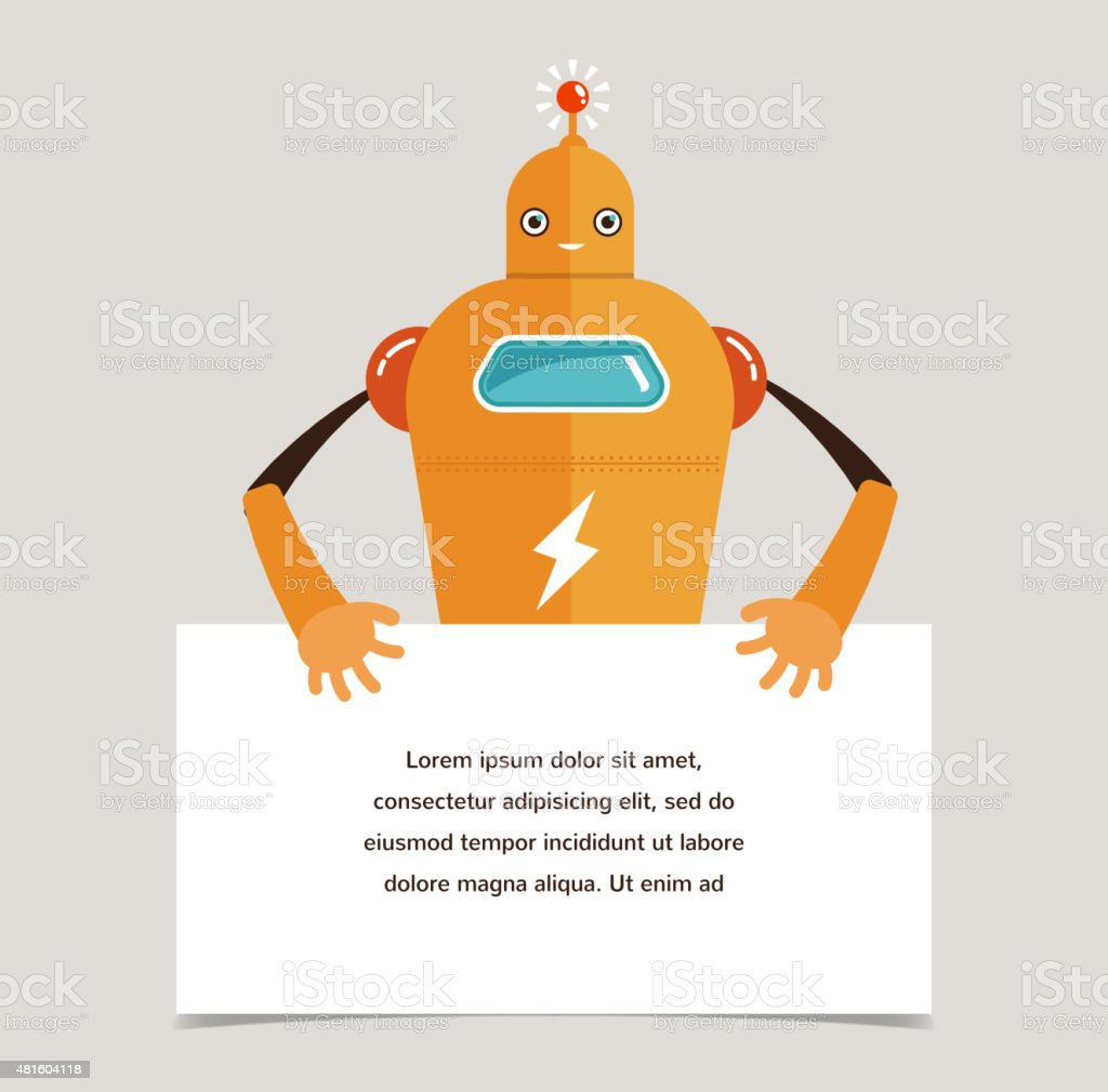 Cute robot character with a banner vector art illustration