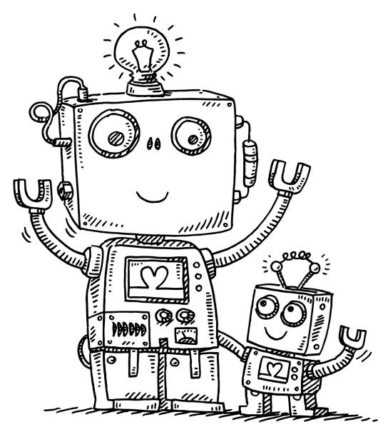 ilustrações de stock, clip art, desenhos animados e ícones de cute robot dad and son love drawing - coração fraco
