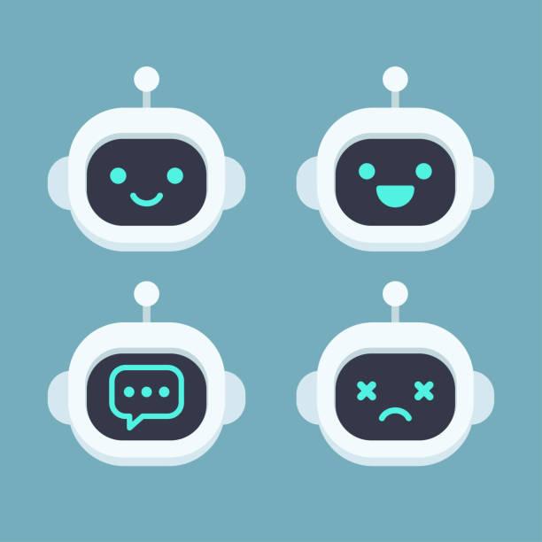 ilustraciones, imágenes clip art, dibujos animados e iconos de stock de cara de robot lindo conjunto - robot