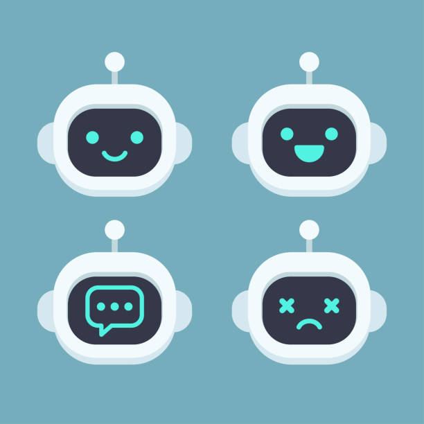 cute robot face set - robotics stock illustrations, clip art, cartoons, & icons