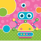 illustration of a robot with multi color circles on pink and green polka dot pattern backgrounds