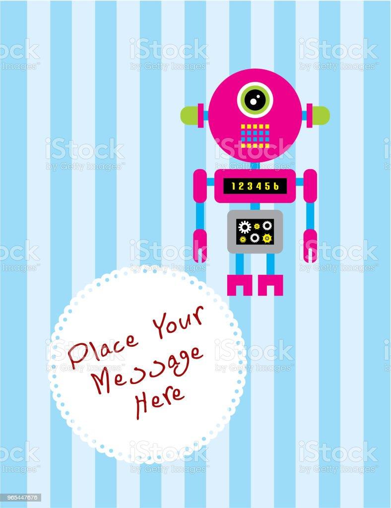귀여운 로봇 인사말 카드 벡터 - 로열티 프리 귀여운 벡터 아트