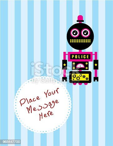Cute Robot Greeting Card Vector Stock Vector Art & More Images of Alien 965447700