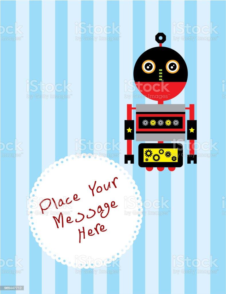 cute robot greeting card vector cute robot greeting card vector - stockowe grafiki wektorowe i więcej obrazów baby shower royalty-free