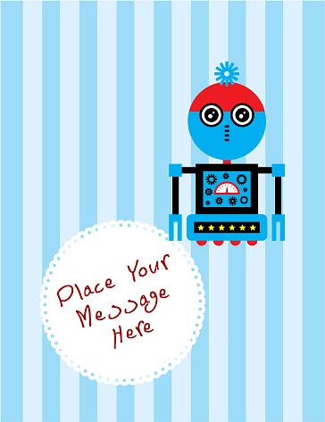 귀여운 로봇 인사말 카드 벡터 귀여운에 대한 스톡 벡터 아트 및 기타 이미지