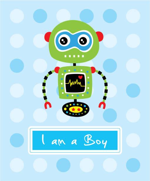 niedliche Roboter ist es ein Junge Ankunft Grußkarte Vektor – Vektorgrafik