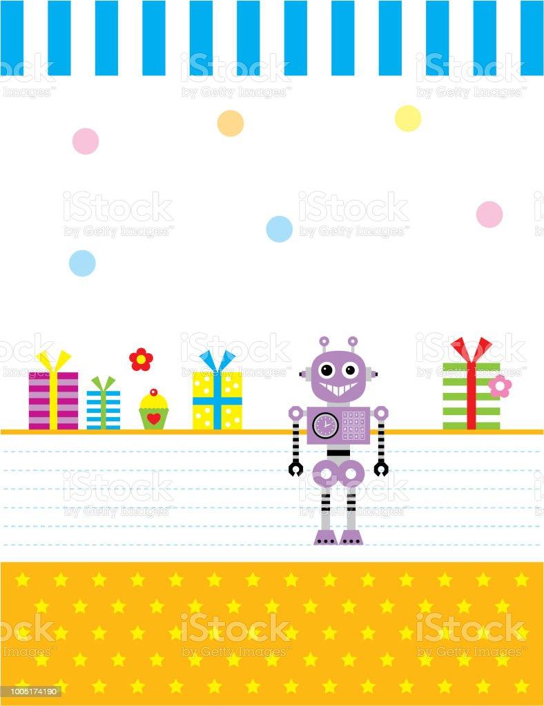 かわいいロボット メリー クリスマス ギフト カード ベクトル