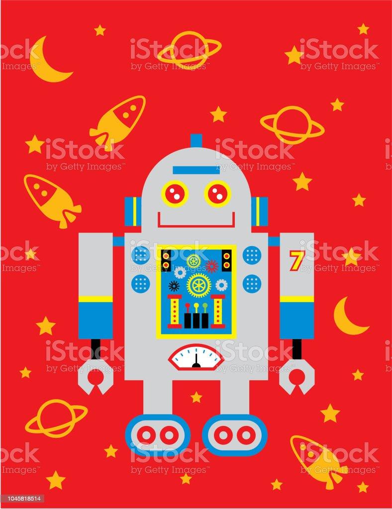 かわいいロボット保育園壁紙ポスター ベクトル いたずら書きの