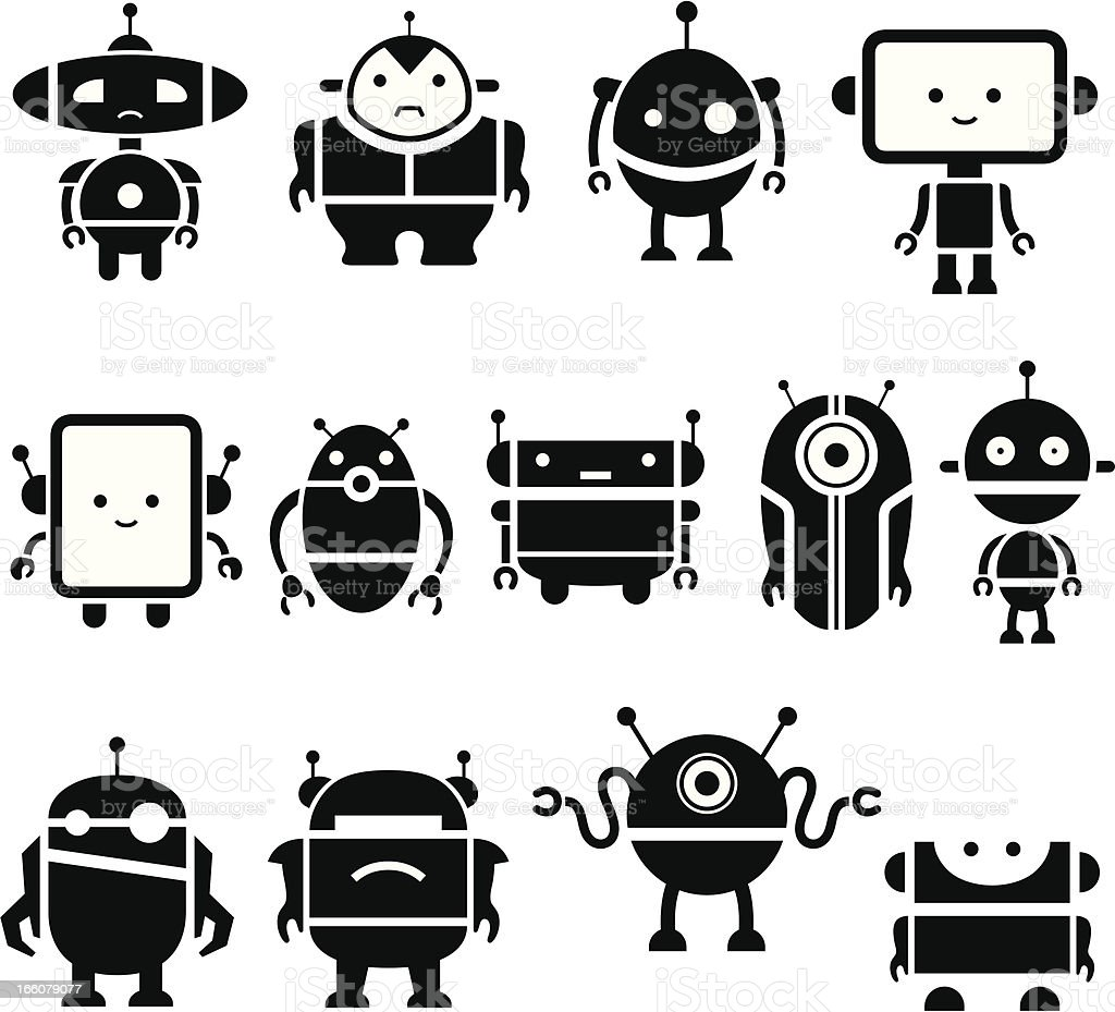 Cute Robot Symbols Stock Vector Art More Images Of Anger 166079077