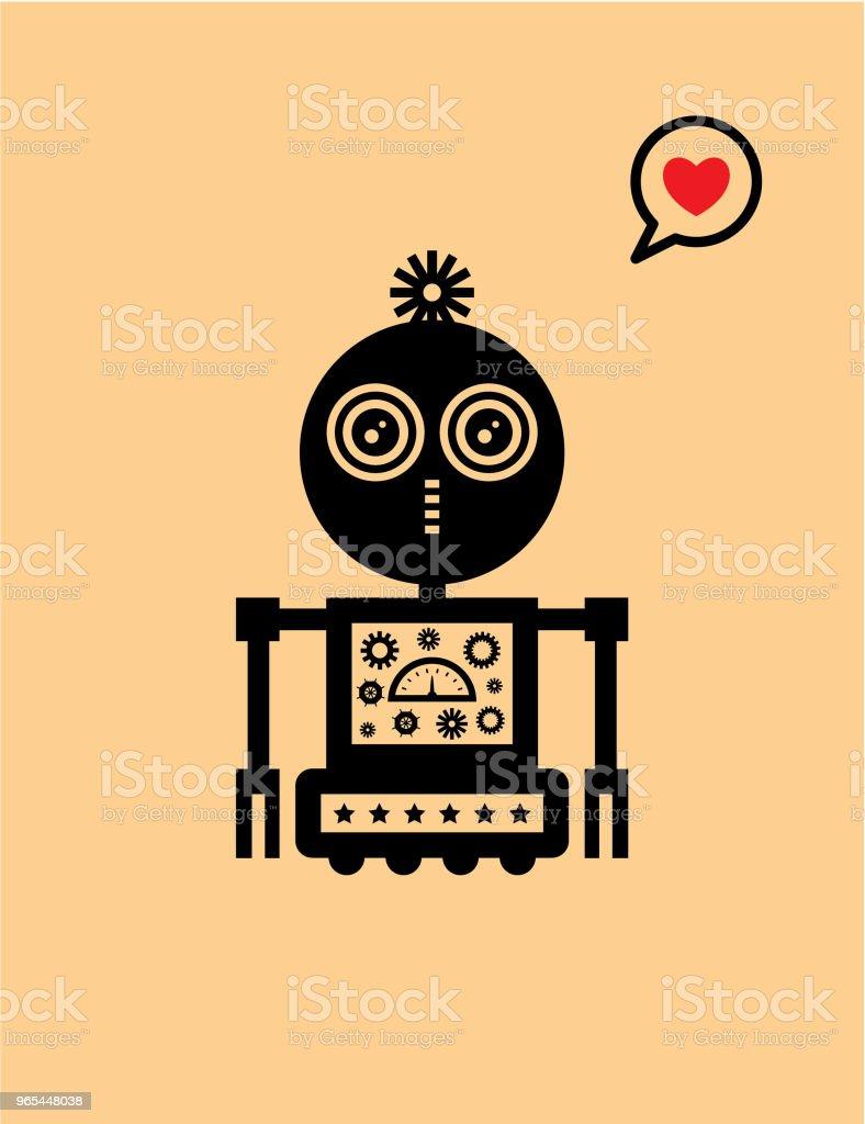 귀여운 로봇 발렌타인 인사말 카드 - 로열티 프리 귀여운 벡터 아트