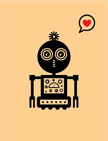 귀여운 로봇 발렌타인 인사말 카드 귀여운에 대한 스톡 벡터 아트 및 기타 이미지