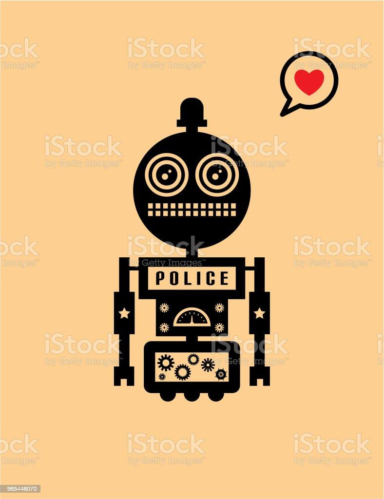 carte de voeux Saint Valentin robot mignon - clipart vectoriel de Acclamation de joie libre de droits