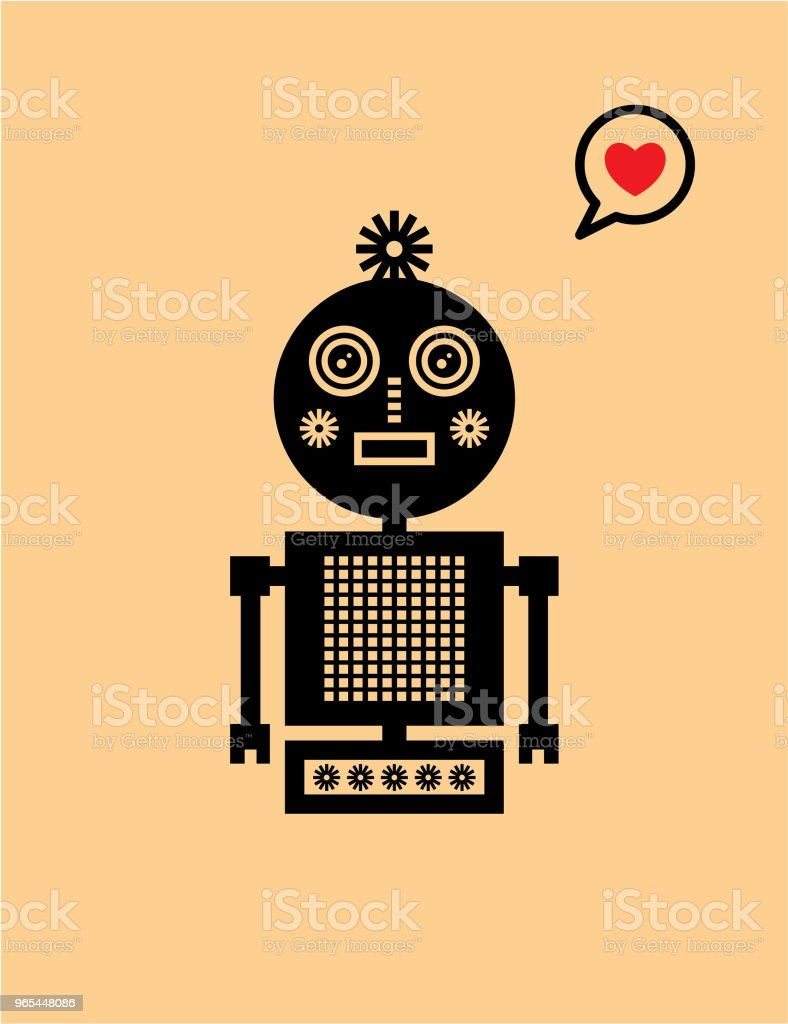 niedliche Roboter-Valentinstag-Grußkarte - Lizenzfrei Ankunft Vektorgrafik
