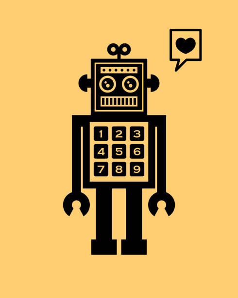 niedliche Roboter Valentine Gruß Vektor – Vektorgrafik