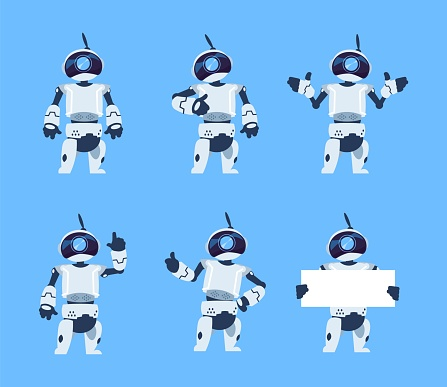 Cute robots. Cartoon android character set, futuristic machine with different poses. Vector isolated objects
