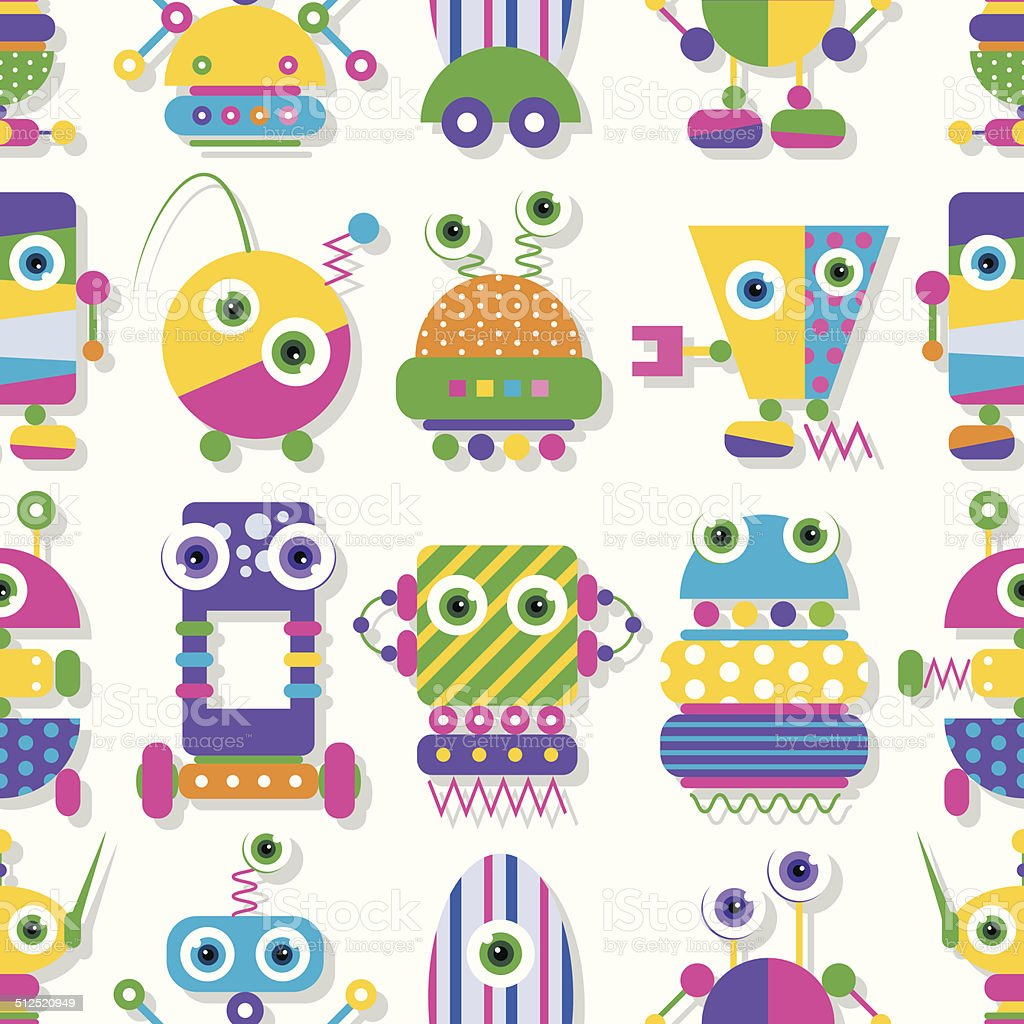 cute robots collection pattern vector art illustration