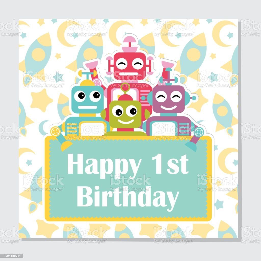 Cute Robots On Rocket Background Suitable For Birthday Invitation