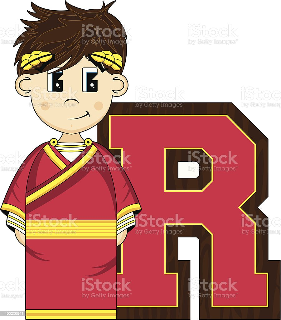 Cute Roman Emperor Learning Letter R royalty-free stock vector art
