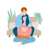 Cute romantic couple at home, man sitting on sofa, hugging woman who is cuddling a sleeping cat, flat vector illustration isolated on white background. Cozy portrait of a young couple and a cat
