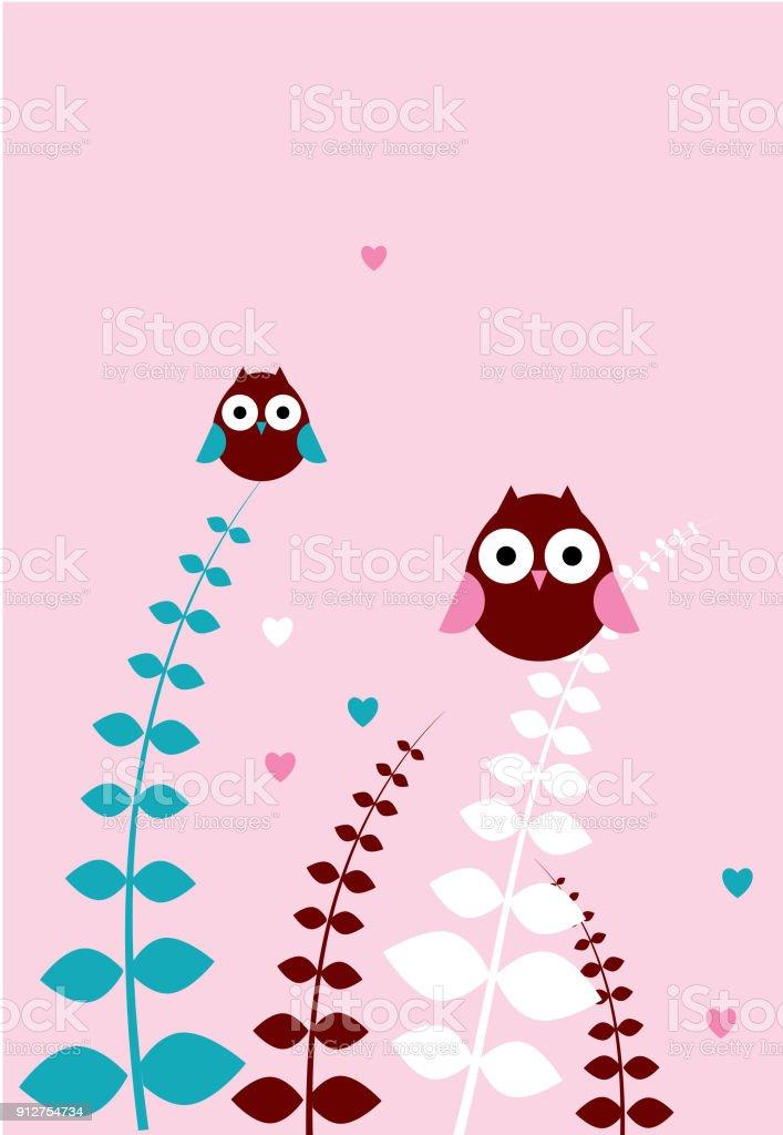 Cute Romantic Owl Wallpaper Vector Royalty Free Stock Art