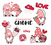 Cute Romantic Valentine Gnome in Pink hat cartoon vector collection, Happy Valentine Day idea for greeting card, t shirt, apparels stuff printable